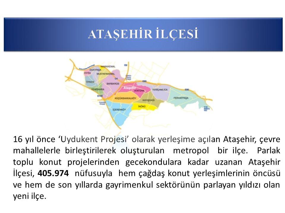 16 yıl önce 'Uydukent Projesi' olarak yerleşime açılan Ataşehir, çevre mahallelerle birleştirilerek oluşturulan metropol bir ilçe.