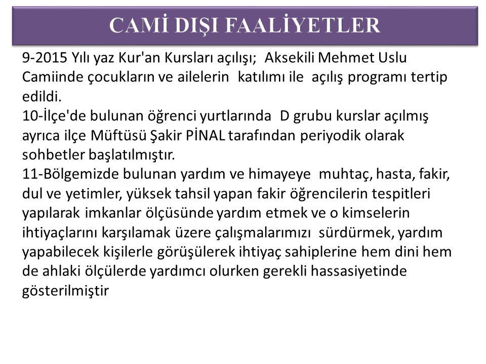 9-2015 Yılı yaz Kur an Kursları açılışı; Aksekili Mehmet Uslu Camiinde çocukların ve ailelerin katılımı ile açılış programı tertip edildi.