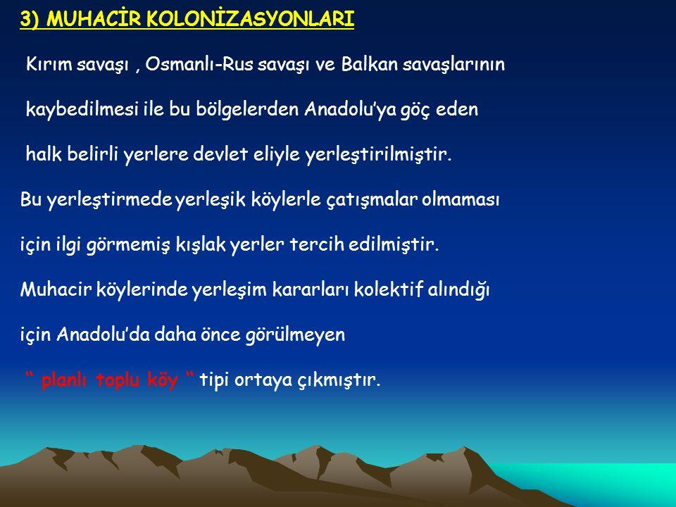 3) MUHACİR KOLONİZASYONLARI Kırım savaşı, Osmanlı-Rus savaşı ve Balkan savaşlarının kaybedilmesi ile bu bölgelerden Anadolu'ya göç eden halk belirli y