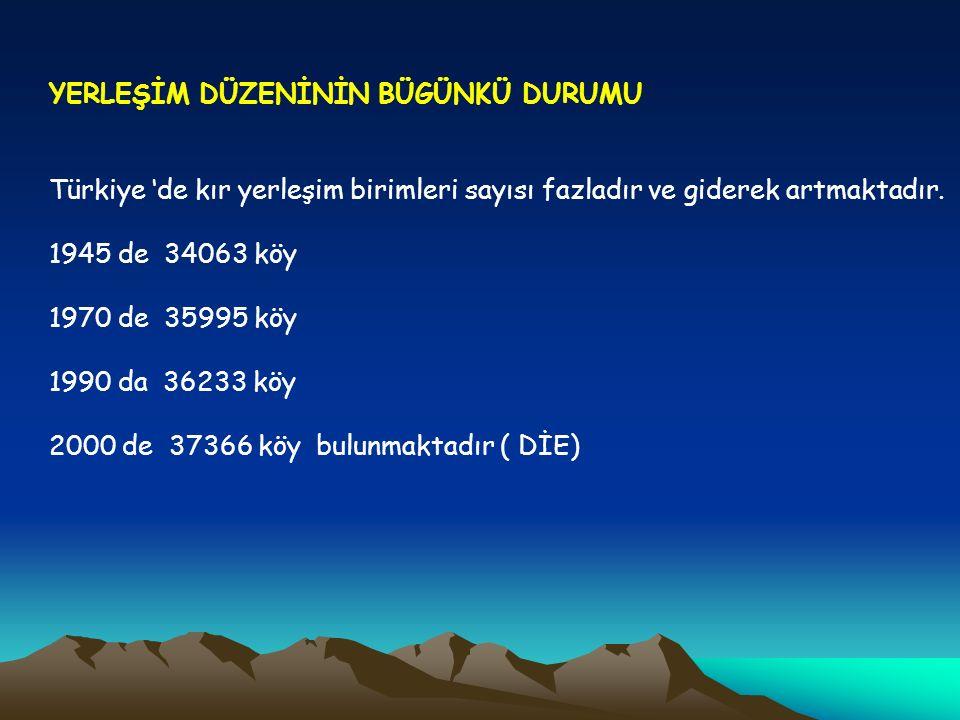 YERLEŞİM DÜZENİNİN BÜGÜNKÜ DURUMU Türkiye 'de kır yerleşim birimleri sayısı fazladır ve giderek artmaktadır. 1945 de 34063 köy 1970 de 35995 köy 1990