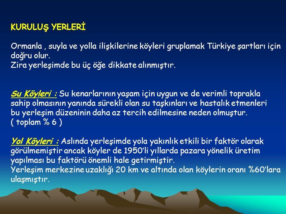 KURULUŞ YERLERİ Ormanla, suyla ve yolla ilişkilerine köyleri gruplamak Türkiye şartları için doğru olur. Zira yerleşimde bu üç öğe dikkate alınmıştır.