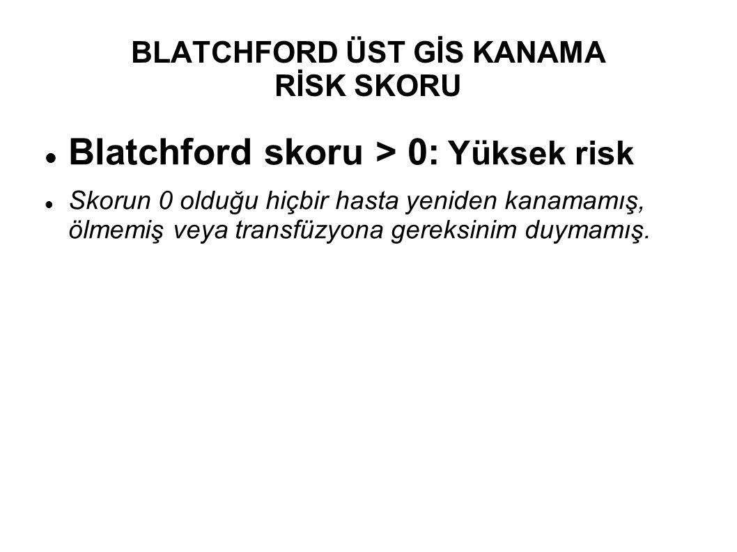 Blatchford skoru > 0: Yüksek risk Skorun 0 olduğu hiçbir hasta yeniden kanamamış, ölmemiş veya transfüzyona gereksinim duymamış.