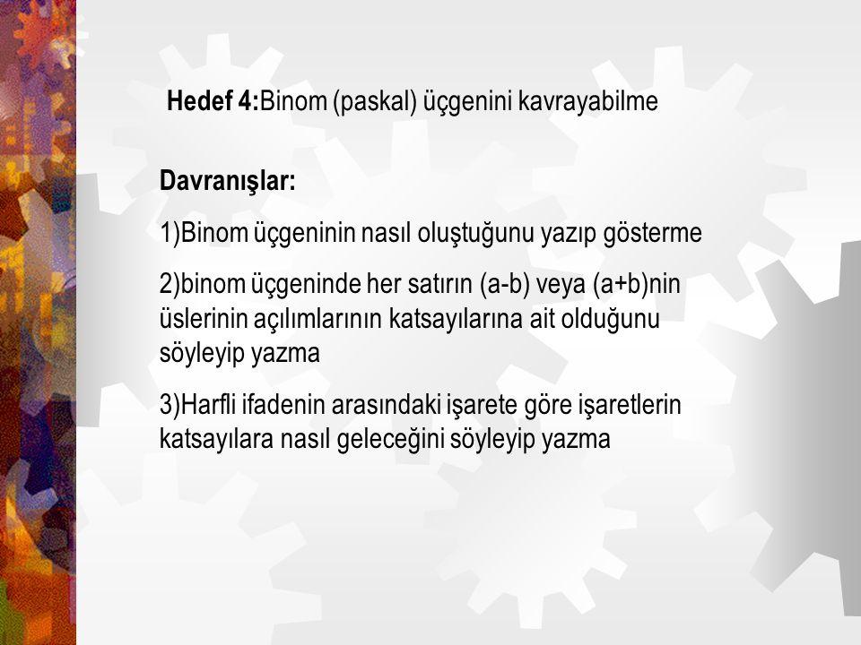 Hedef 3: Harfli ifadelerde çarpma işlemini yapabilme Davranışlar: 1)Pozitif ve negatif işaretli iki ve daha çok harfli ifadeyi çarpıp sonucu yazma 2)H