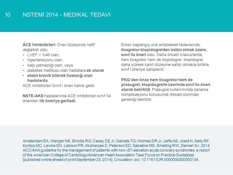 NSTEMI 2014 - MEDIKAL TEDAVI10 ACE İnhibitörleri: Öneri düzeyinde hafif değişiklik oldu. LVEF < %40 olan, hipertansiyonu olan, kalp yetmezliği olan, v