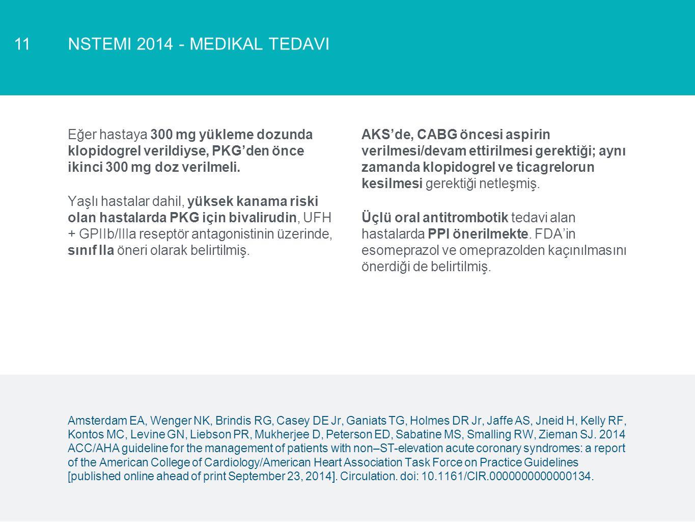 NSTEMI 2014 - MEDIKAL TEDAVI11 Eğer hastaya 300 mg yükleme dozunda klopidogrel verildiyse, PKG'den önce ikinci 300 mg doz verilmeli. Yaşlı hastalar da