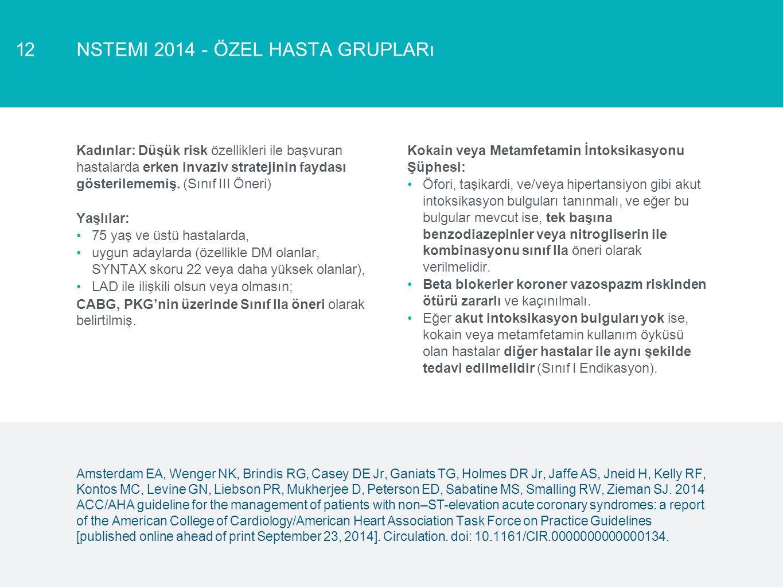 NSTEMI 2014 - ÖZEL HASTA GRUPLARı12 Kadınlar: Düşük risk özellikleri ile başvuran hastalarda erken invaziv stratejinin faydası gösterilememiş. (Sınıf