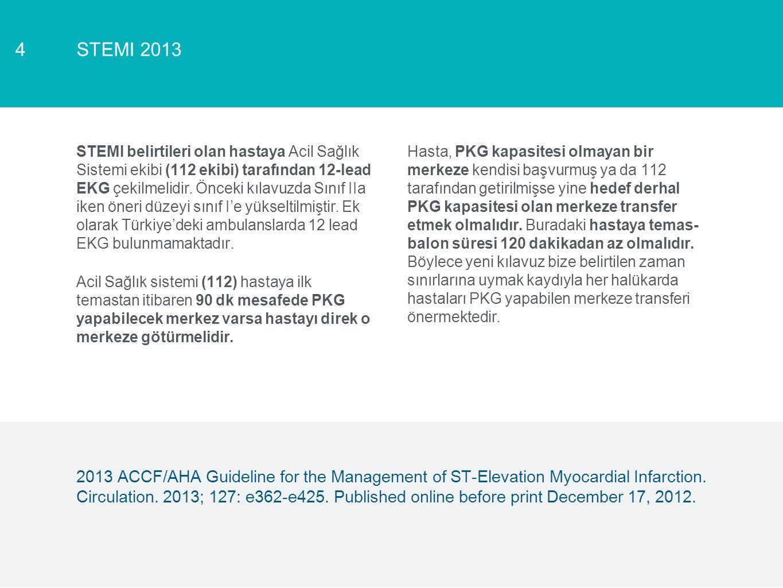 STEMI 20134 STEMI belirtileri olan hastaya Acil Sağlık Sistemi ekibi (112 ekibi) tarafından 12-lead EKG çekilmelidir. Önceki kılavuzda Sınıf IIa iken