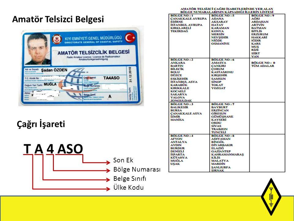 Amatör Telsizci Belgesi Çağrı İşareti T A 4 ASO Son Ek Bölge Numarası Belge Sınıfı Ülke Kodu