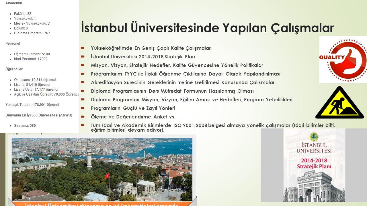 İstanbul Üniversitesinde Yapılan Çalışmalar  Yükseköğretimde En Geniş Çaplı Kalite Çalışmaları  İstanbul Üniversitesi 2014-2018 Stratejik Plan  Mis