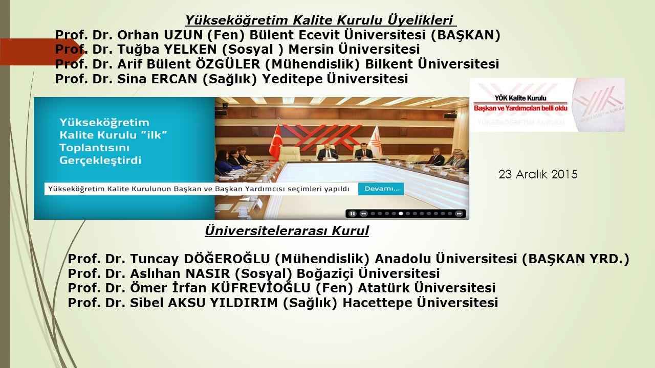 Yükseköğretim Kalite Kurulu Üyelikleri Prof. Dr. Orhan UZUN (Fen) Bülent Ecevit Üniversitesi (BAŞKAN) Prof. Dr. Tuğba YELKEN (Sosyal ) Mersin Üniversi