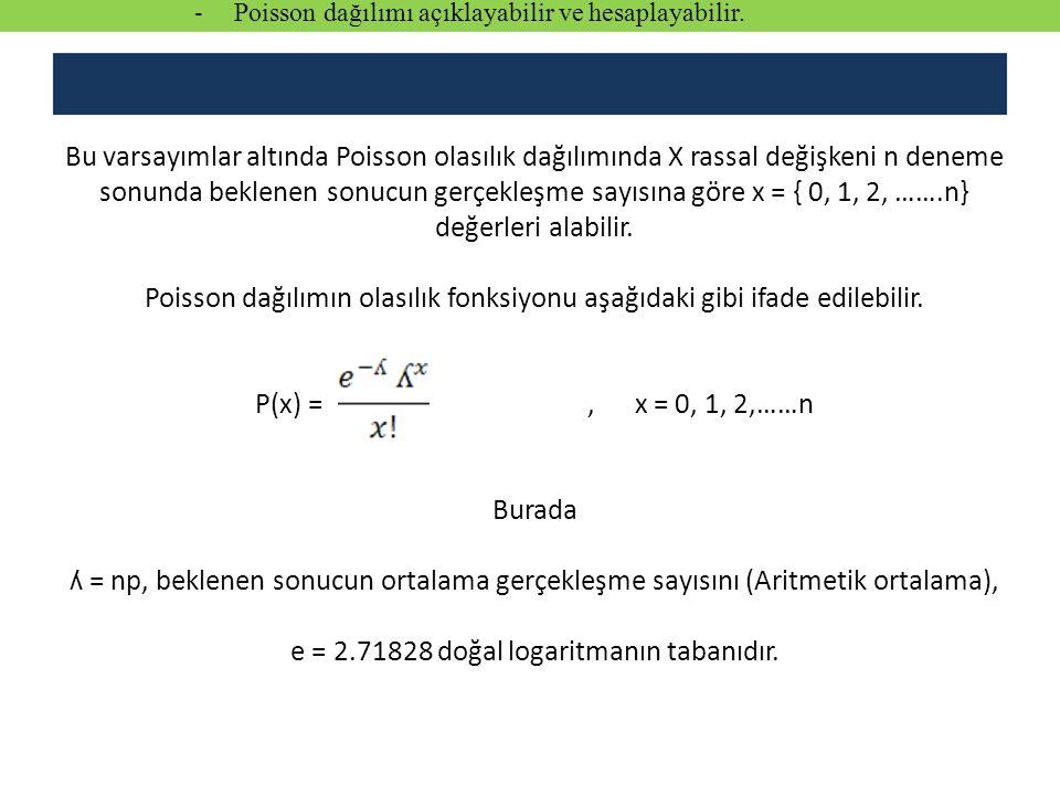 Bu varsayımlar altında Poisson olasılık dağılımında X rassal değişkeni n deneme sonunda beklenen sonucun gerçekleşme sayısına göre x = { 0, 1, 2, …….n