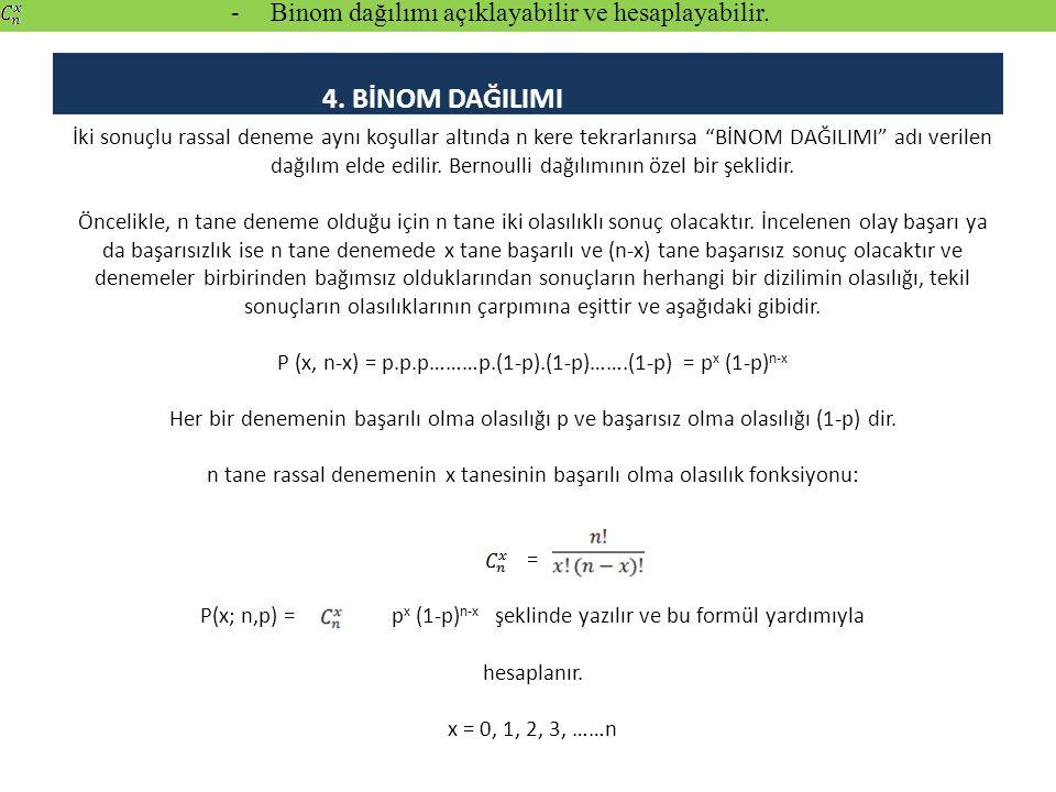 a) Binom Dağılımının Aritmetik Ortalaması, Varyansı ve Momentleri Aritmetik ortalaması: µ x = E (X) = n.p Varyansı: = E [ (X - µ x ) 2 ] = n.p.