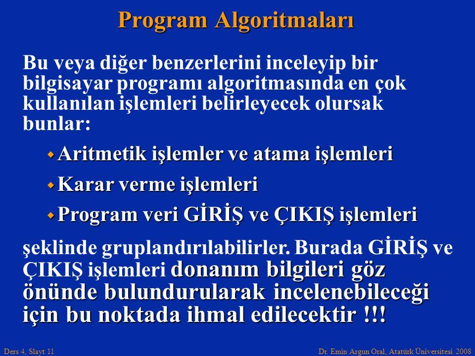Dr. Emin Argun Oral, Atatürk Üniversitesi 2008 Ders 4, Slayt 11 Program Algoritmaları Bu veya diğer benzerlerini inceleyip bir bilgisayar programı alg