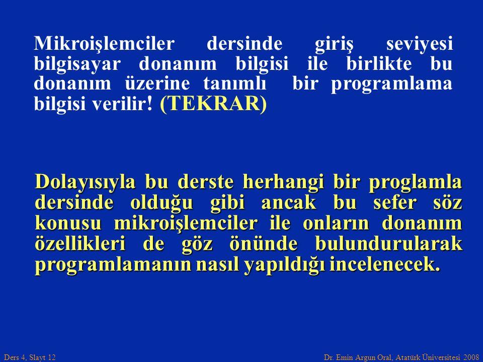 Dr. Emin Argun Oral, Atatürk Üniversitesi 2008 Ders 4, Slayt 12 Dolayısıyla bu derste herhangi bir proglamla dersinde olduğu gibi ancak bu sefer söz k