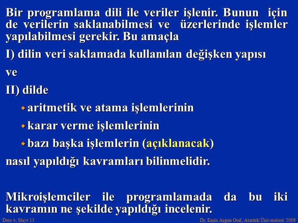 Dr. Emin Argun Oral, Atatürk Üniversitesi 2008 Ders 4, Slayt 13 Bir programlama dili ile veriler işlenir. Bunun için de verilerin saklanabilmesi ve üz