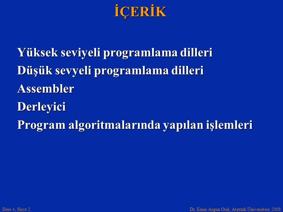 Dr. Emin Argun Oral, Atatürk Üniversitesi 2008 Ders 4, Slayt 2İÇERİK Yüksek seviyeli programlama dilleri Düşük sevyeli programlama dilleri AssemblerDe