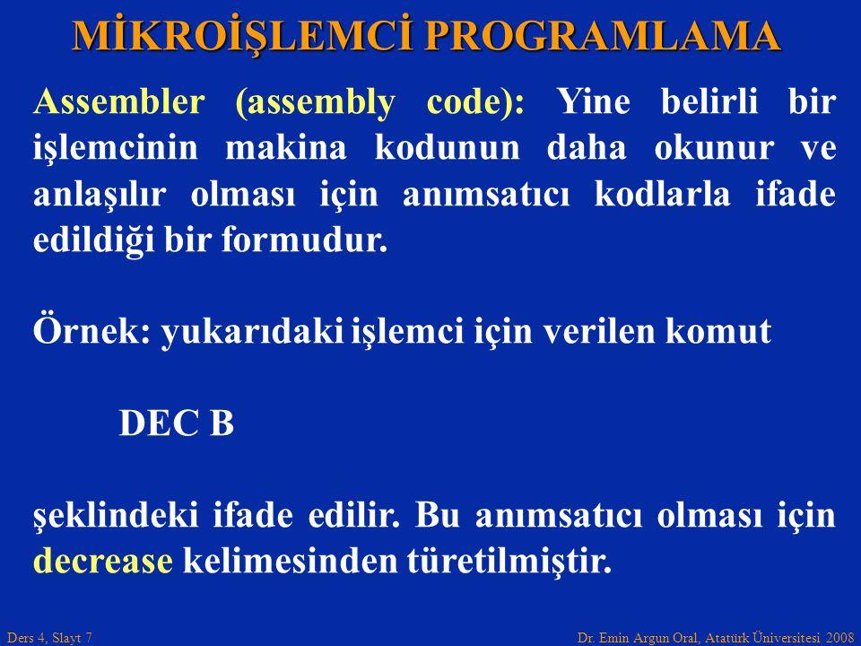 Dr. Emin Argun Oral, Atatürk Üniversitesi 2008 Ders 4, Slayt 7 MİKROİŞLEMCİ PROGRAMLAMA Assembler (assembly code): Yine belirli bir işlemcinin makina