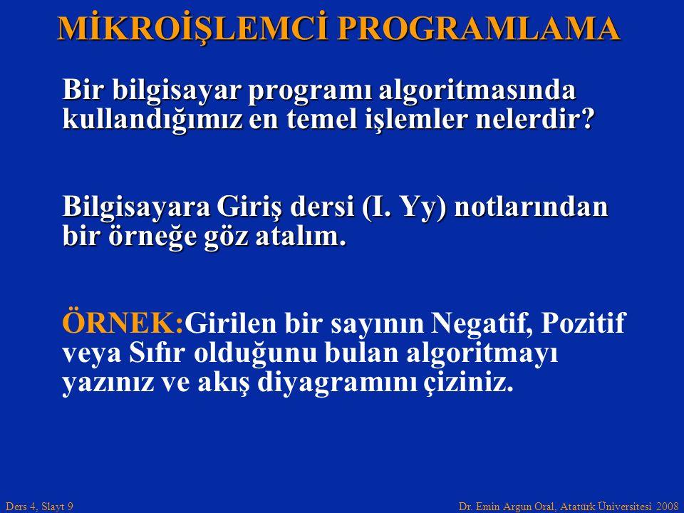 Dr. Emin Argun Oral, Atatürk Üniversitesi 2008 Ders 4, Slayt 9 Bir bilgisayar programı algoritmasında kullandığımız en temel işlemler nelerdir? Bilgis