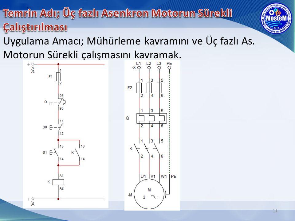 11 Uygulama Amacı; Mühürleme kavramını ve Üç fazlı As. Motorun Sürekli çalışmasını kavramak.
