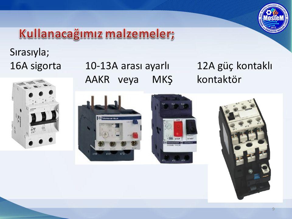 9 Sırasıyla; 16A sigorta 12A güç kontaklı kontaktör 10-13A arası ayarlı AAKR veya MKŞ