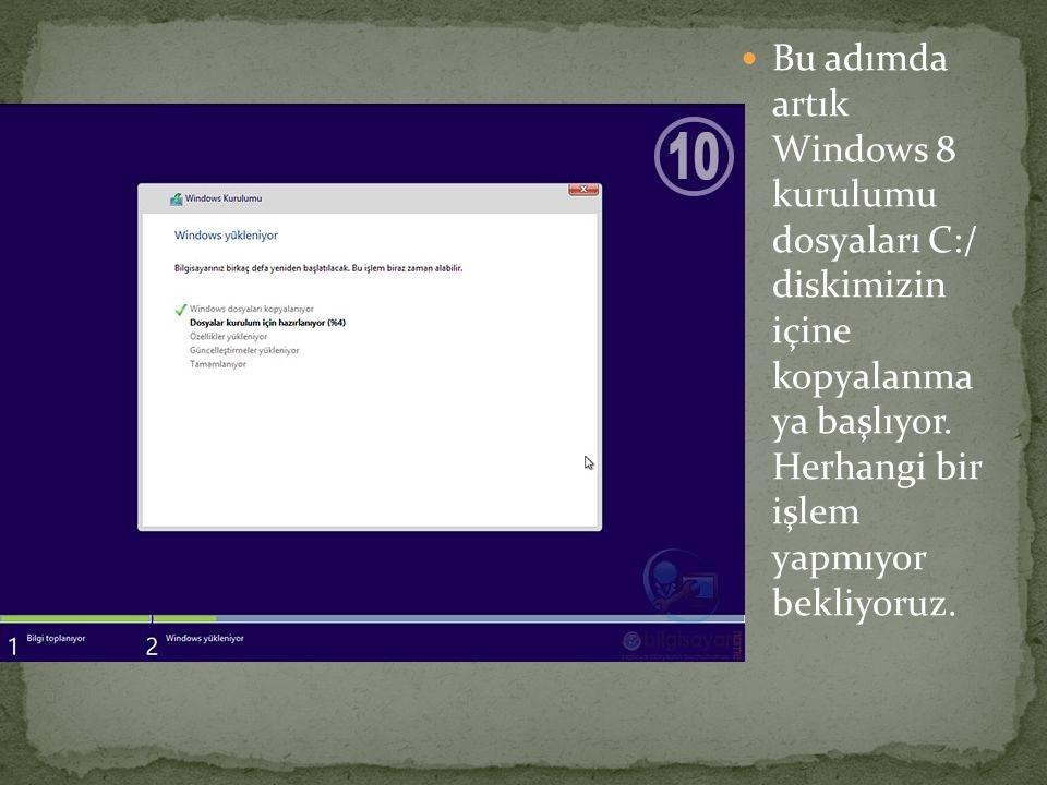Bu adımda artık Windows 8 kurulumu dosyaları C:/ diskimizin içine kopyalanma ya başlıyor. Herhangi bir işlem yapmıyor bekliyoruz.