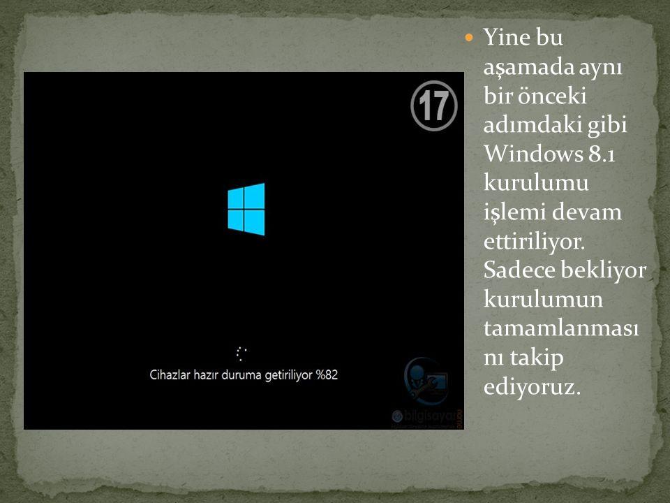 Yine bu aşamada aynı bir önceki adımdaki gibi Windows 8.1 kurulumu işlemi devam ettiriliyor. Sadece bekliyor kurulumun tamamlanması nı takip ediyoruz.