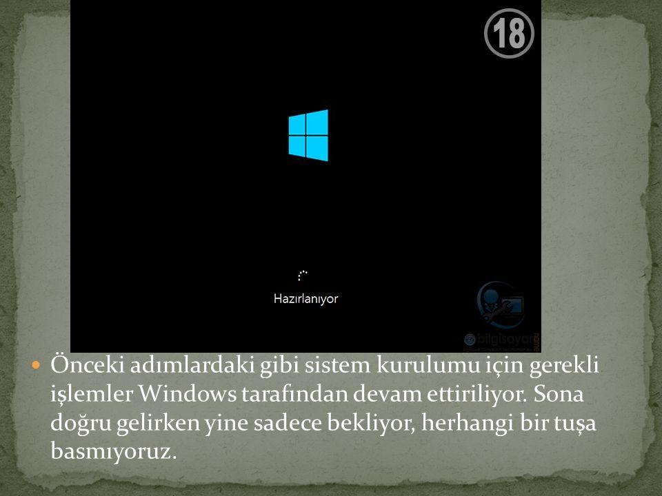 Önceki adımlardaki gibi sistem kurulumu için gerekli işlemler Windows tarafından devam ettiriliyor. Sona doğru gelirken yine sadece bekliyor, herhangi