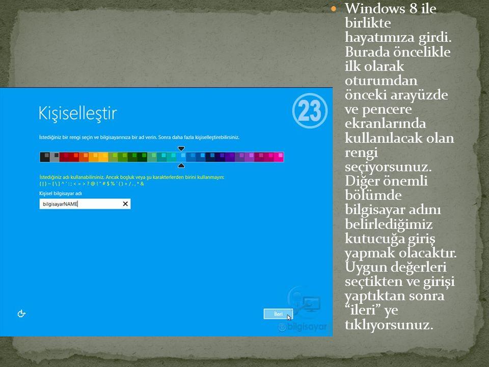 Windows 8 ile birlikte hayatımıza girdi. Burada öncelikle ilk olarak oturumdan önceki arayüzde ve pencere ekranlarında kullanılacak olan rengi seçiyor