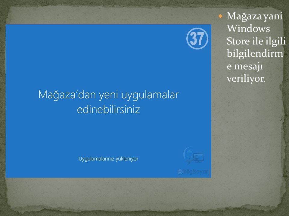 Mağaza yani Windows Store ile ilgili bilgilendirm e mesajı veriliyor.
