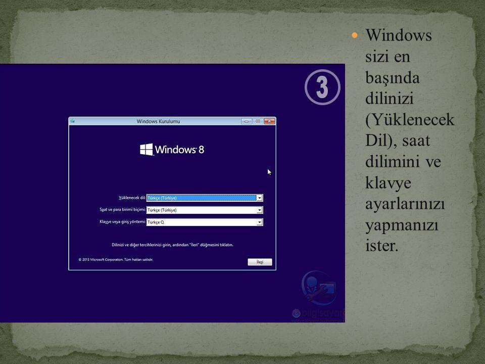 Windows sizi en başında dilinizi (Yüklenecek Dil), saat dilimini ve klavye ayarlarınızı yapmanızı ister.