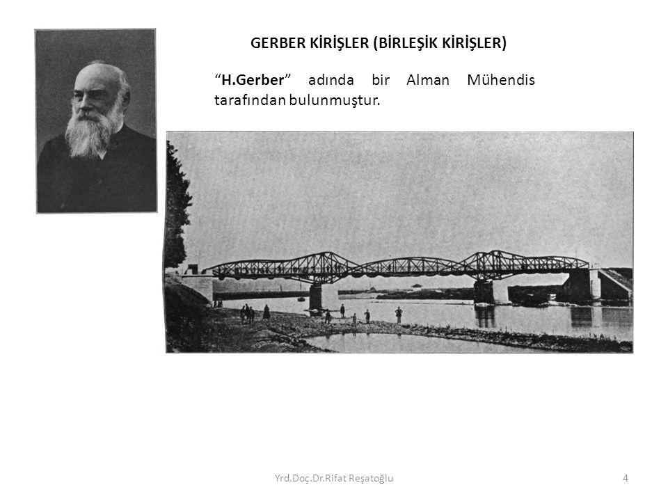 """Yrd.Doç.Dr.Rifat Reşatoğlu4 """"H.Gerber"""" adında bir Alman Mühendis tarafından bulunmuştur. GERBER KİRİŞLER (BİRLEŞİK KİRİŞLER)"""
