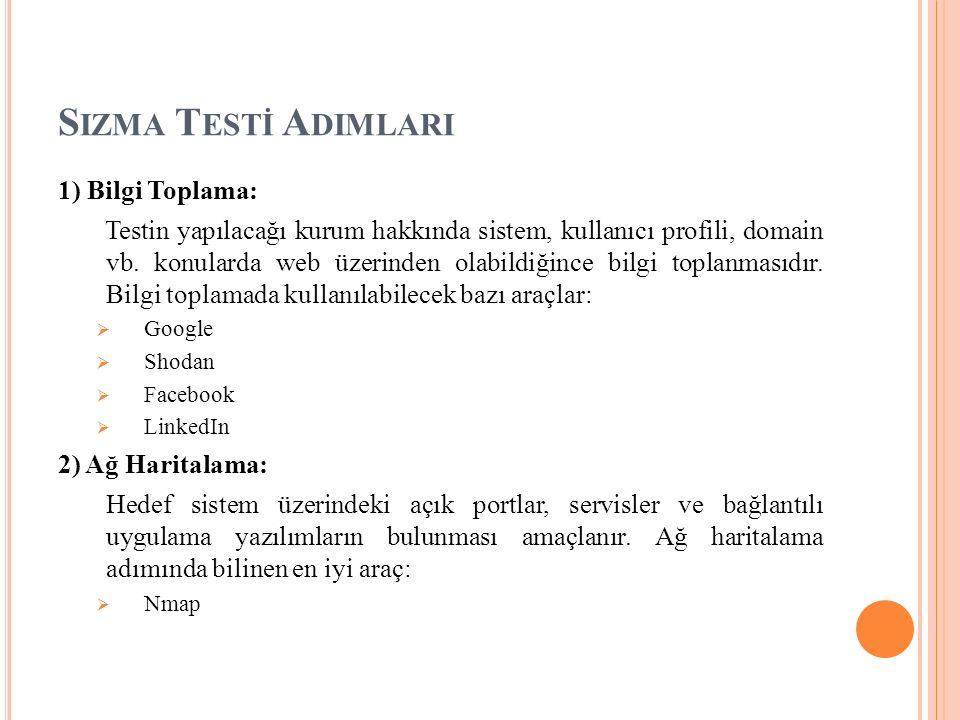 1) Bilgi Toplama: Testin yapılacağı kurum hakkında sistem, kullanıcı profili, domain vb.