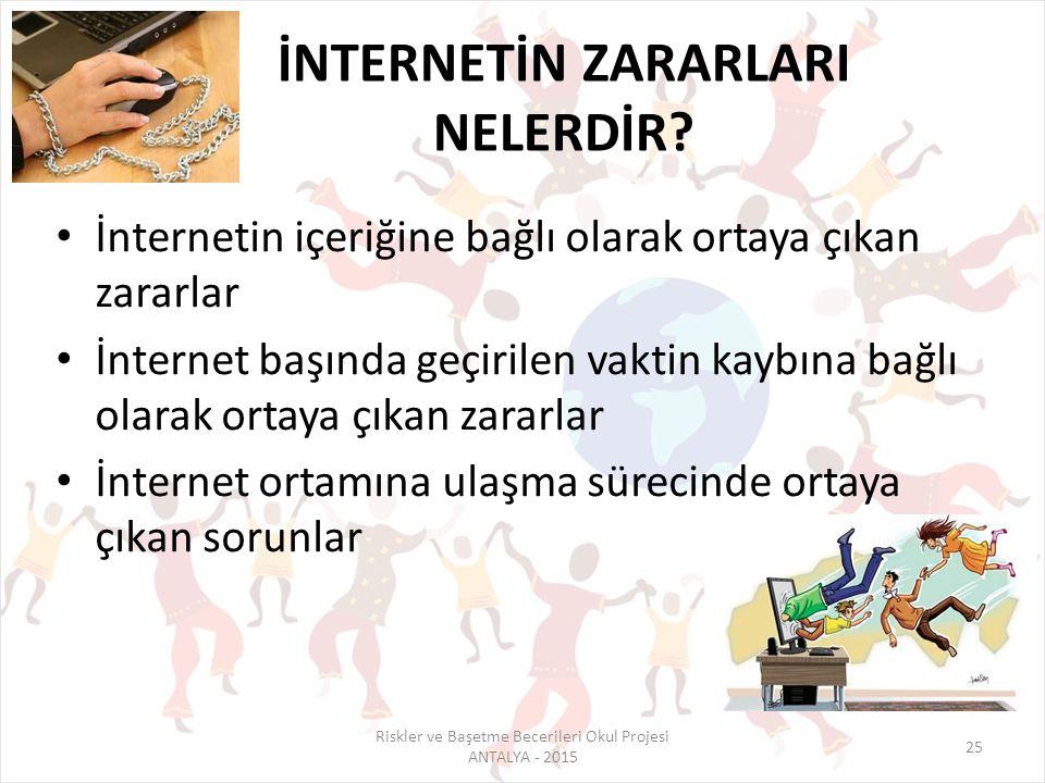 Riskler ve Başetme Becerileri Okul Projesi ANTALYA - 2015 25 İNTERNETİN ZARARLARI NELERDİR? İnternetin içeriğine bağlı olarak ortaya çıkan zararlar İn