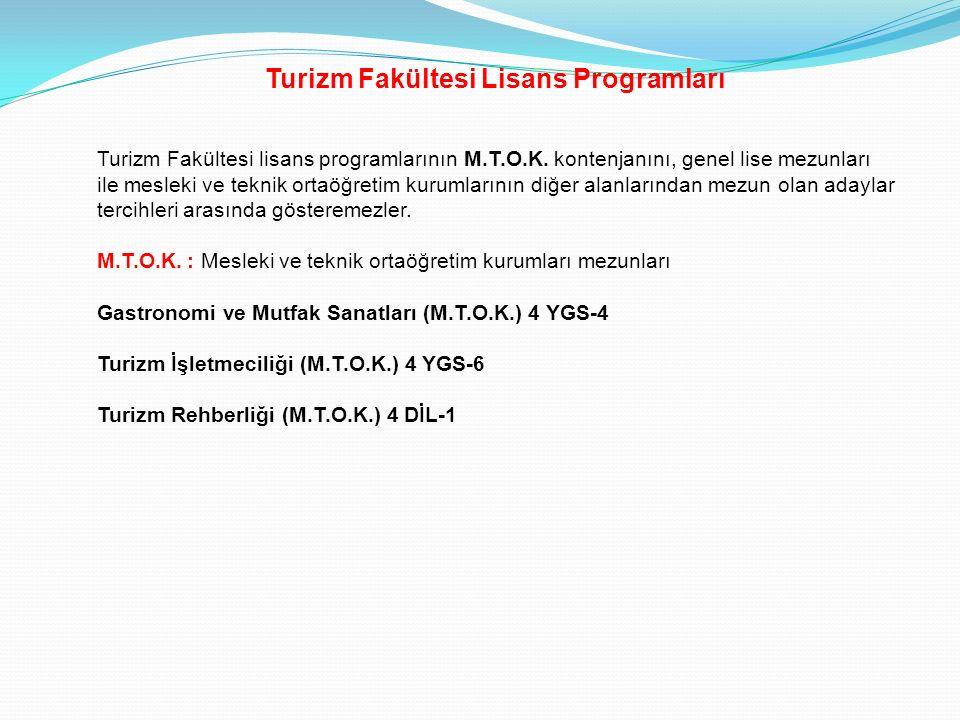 Turizm Fakültesi Lisans Programları Turizm Fakültesi lisans programlarının M.T.O.K. kontenjanını, genel lise mezunları ile mesleki ve teknik ortaöğret