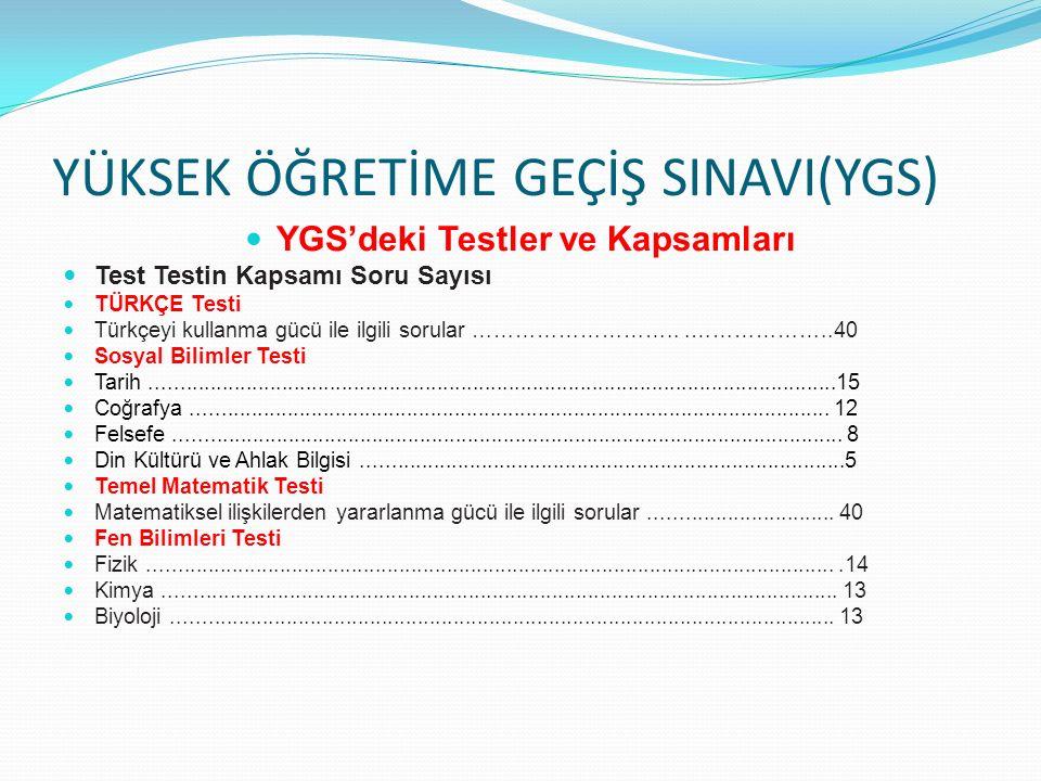 YÜKSEK ÖĞRETİME GEÇİŞ SINAVI(YGS) YGS'deki Testler ve Kapsamları Test Testin Kapsamı Soru Sayısı TÜRKÇE Testi Türkçeyi kullanma gücü ile ilgili sorula