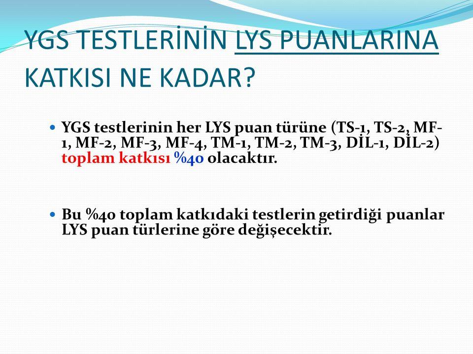 YGS TESTLERİNİN LYS PUANLARINA KATKISI NE KADAR? YGS testlerinin her LYS puan türüne (TS-1, TS-2, MF- 1, MF-2, MF-3, MF-4, TM-1, TM-2, TM-3, DİL-1, Dİ