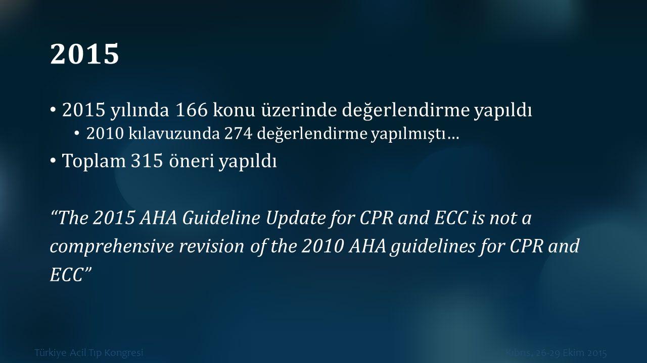 Türkiye Acil Tıp Kongresi Kıbrıs, 26-29 Ekim 2015 2015 2015 yılında 166 konu üzerinde değerlendirme yapıldı 2010 kılavuzunda 274 değerlendirme yapılmı