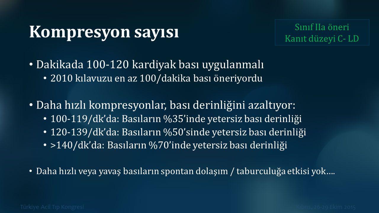 Türkiye Acil Tıp Kongresi Kıbrıs, 26-29 Ekim 2015 Kompresyon sayısı Dakikada 100-120 kardiyak bası uygulanmalı 2010 kılavuzu en az 100/dakika bası öne