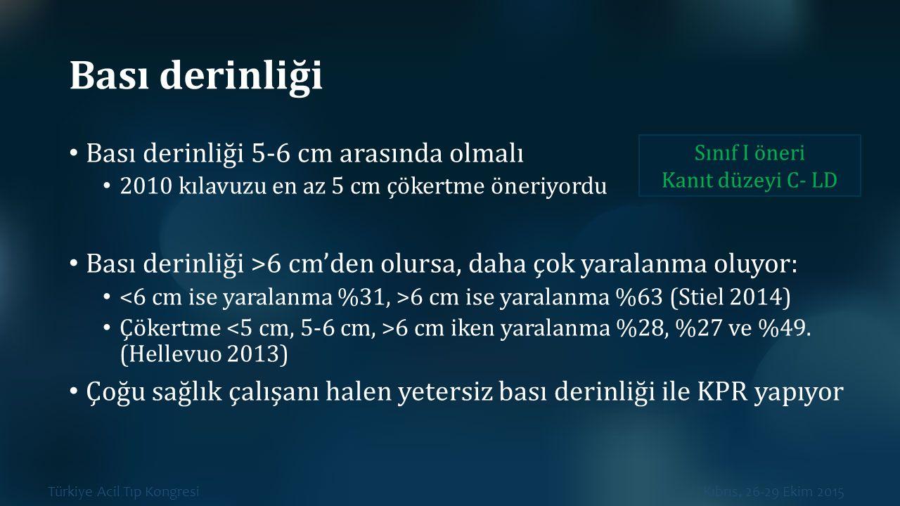 Türkiye Acil Tıp Kongresi Kıbrıs, 26-29 Ekim 2015 Bası derinliği Bası derinliği 5-6 cm arasında olmalı 2010 kılavuzu en az 5 cm çökertme öneriyordu Ba