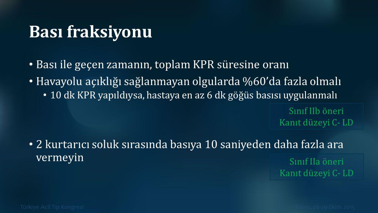 Türkiye Acil Tıp Kongresi Kıbrıs, 26-29 Ekim 2015 Bası fraksiyonu Bası ile geçen zamanın, toplam KPR süresine oranı Havayolu açıklığı sağlanmayan olgu