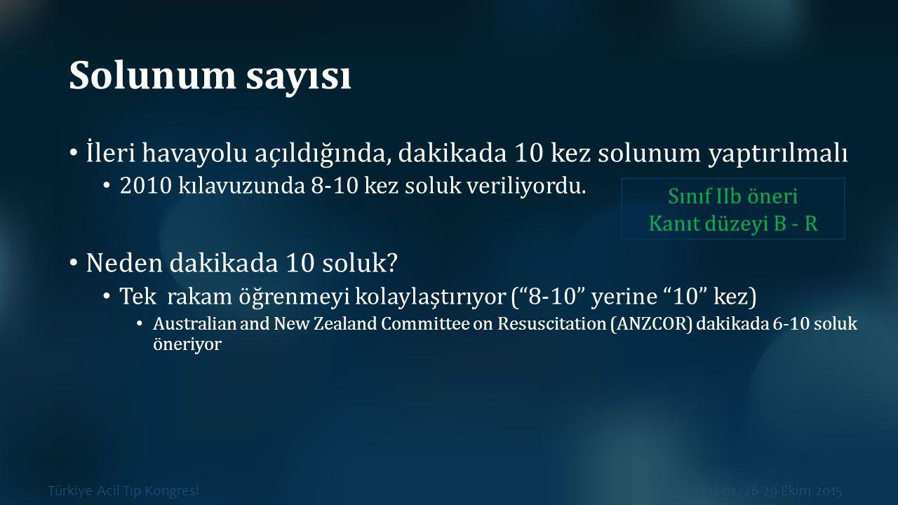 Türkiye Acil Tıp Kongresi Kıbrıs, 26-29 Ekim 2015 Solunum sayısı İleri havayolu açıldığında, dakikada 10 kez solunum yaptırılmalı 2010 kılavuzunda 8-1