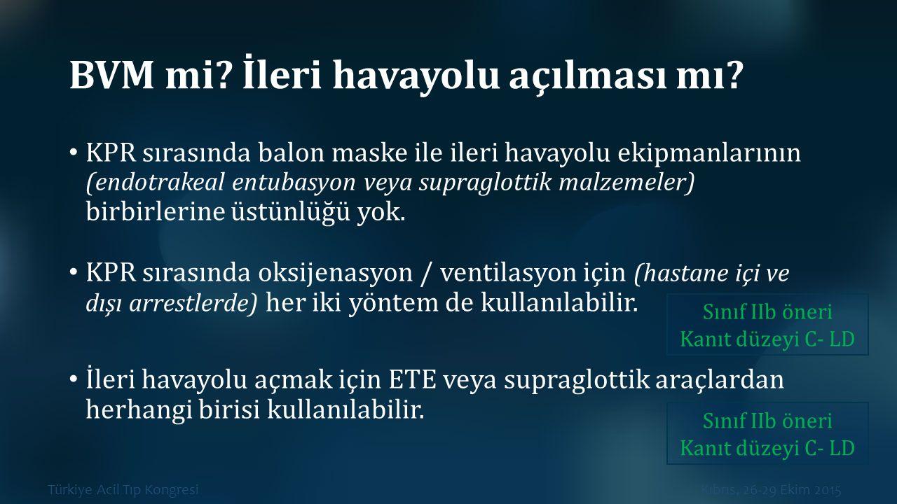 Türkiye Acil Tıp Kongresi Kıbrıs, 26-29 Ekim 2015 BVM mi? İleri havayolu açılması mı? KPR sırasında balon maske ile ileri havayolu ekipmanlarının (end