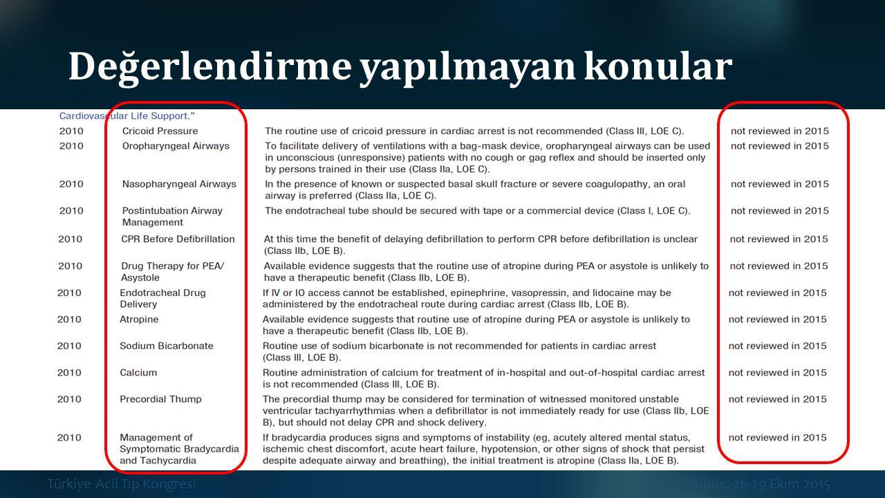 Türkiye Acil Tıp Kongresi Kıbrıs, 26-29 Ekim 2015 Değerlendirme yapılmayan konular