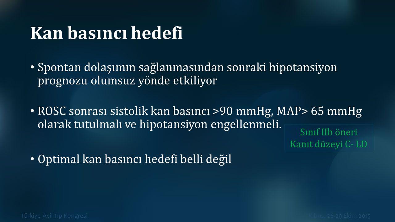 Türkiye Acil Tıp Kongresi Kıbrıs, 26-29 Ekim 2015 Kan basıncı hedefi Spontan dolaşımın sağlanmasından sonraki hipotansiyon prognozu olumsuz yönde etki