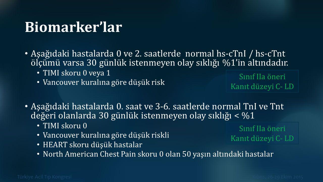 Türkiye Acil Tıp Kongresi Kıbrıs, 26-29 Ekim 2015 Biomarker'lar Aşağıdaki hastalarda 0 ve 2. saatlerde normal hs-cTnI / hs-cTnt ölçümü varsa 30 günlük