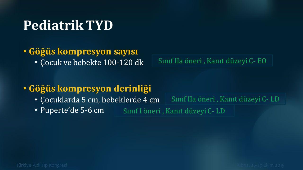 Türkiye Acil Tıp Kongresi Kıbrıs, 26-29 Ekim 2015 Pediatrik TYD Göğüs kompresyon sayısı Çocuk ve bebekte 100-120 dk Göğüs kompresyon derinliği Çocukla