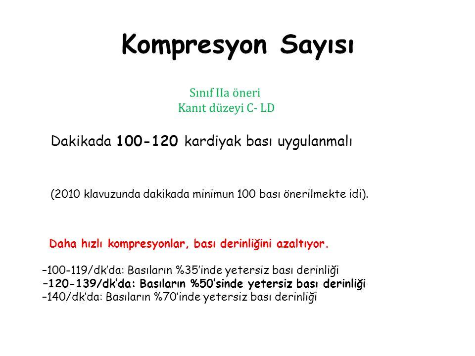 Kompresyon Sayısı Dakikada 100-120 kardiyak bası uygulanmalı (2010 klavuzunda dakikada minimun 100 bası önerilmekte idi). Daha hızlı kompresyonlar, ba