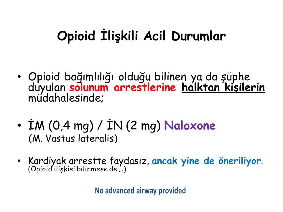 Opioid İlişkili Acil Durumlar Opioid bağımlılığı olduğu bilinen ya da şüphe duyulan solunum arrestlerine halktan kişilerin müdahalesinde; İM (0,4 mg)