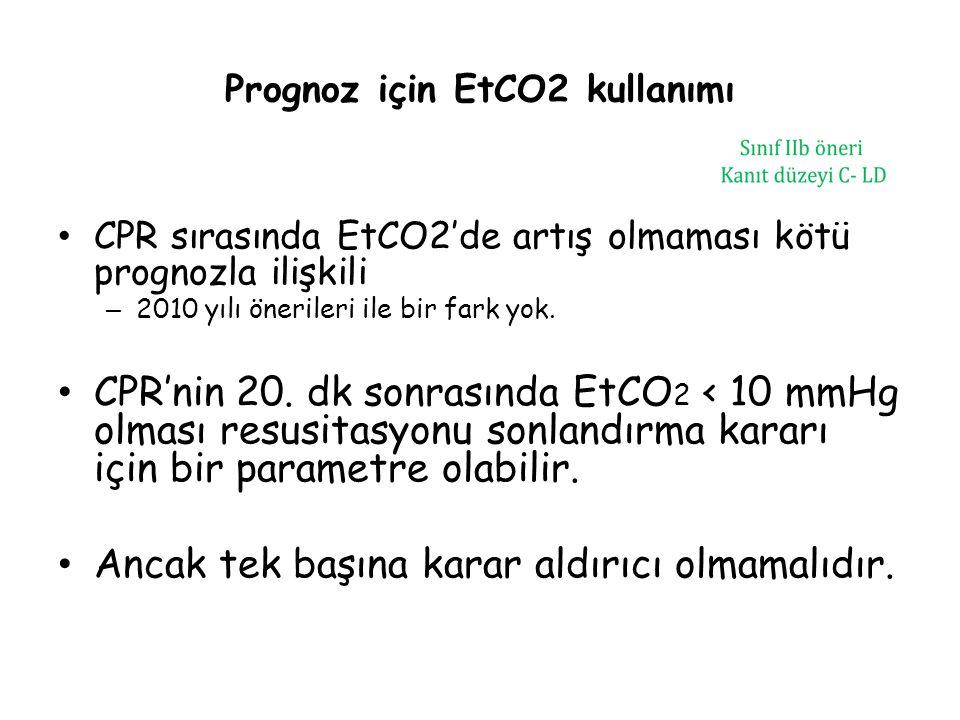Prognoz için EtCO2 kullanımı CPR sırasında EtCO2'de artış olmaması kötü prognozla ilişkili – 2010 yılı önerileri ile bir fark yok. CPR'nin 20. dk sonr