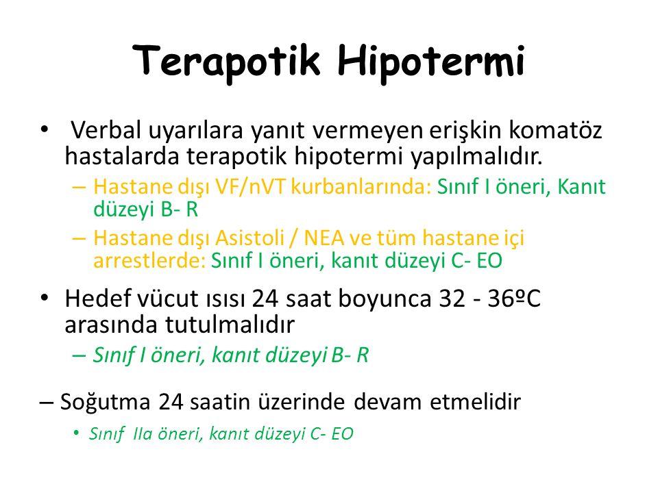 Terapotik Hipotermi Verbal uyarılara yanıt vermeyen erişkin komatöz hastalarda terapotik hipotermi yapılmalıdır. – Hastane dışı VF/nVT kurbanlarında: